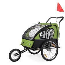si e bebe velo samax remorque vélo convertible jogger 2en1 enfant en vert noir