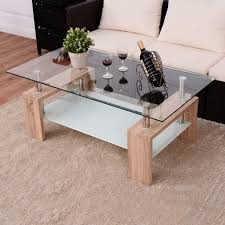 rectangular tempered glass coffee table w shelf coffee tables