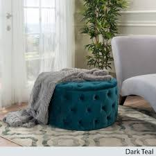 Footstools Ottomans by New Assembled Dark Teal Round Velvet Ottoman Deeply Button Tufted