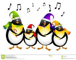 penquin singing chrismas clipart