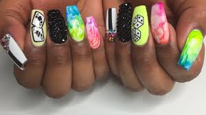 rainbow marble coffin acrylic nails youtube