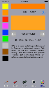 paint simulator and primary colors ryb rgb cmy hex ral