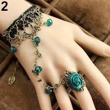 bracelet chain ring images Gothic women lace flower hand slave harness bracelet chain ring jpg