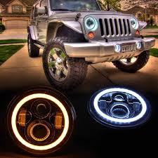 headlights jeep wrangler amazon com opar 7 inch led halo headlights w drl turn