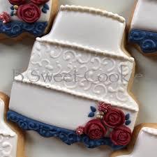 b sweet cookies burgundy and navy wedding cookies with