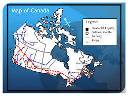 canadian map and capitals geography map elements