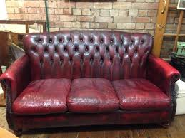 Victorian Chesterfield Sofa For Sale by Thomas Lloyd Ox Blood Red 3 Seater Leather Victoria Chesterfield