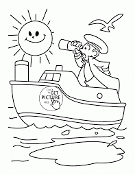 captain and his ship coloring page for kids transportation