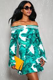 green white leaf print off the shoulder ruffled casual dress