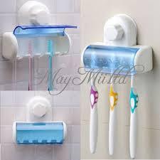 plastic 5 set toothbrush spinbrush holder suction stand bathroom