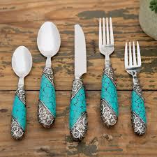 turquoise u0026 silver flatware 5 pcs