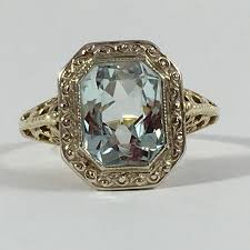 antique aquamarine engagement rings vintage aquamarine ring 10k yellow gold filigree setting 2 carat