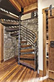 Wooden Spiral Stairs Design Cottage Home Ideas With Rustic Wooden Spiral Staircase Using Metal