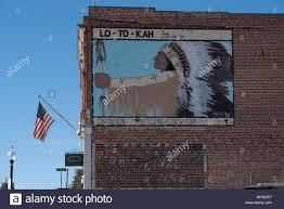 brick building with native american mural stock photo royalty brick building with native american mural
