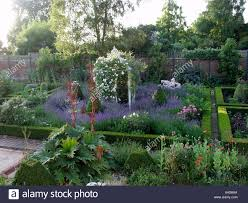 beautiful herb and flower garden in old walled kitchen garden with