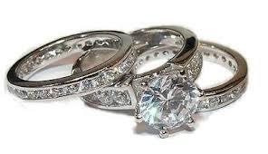 Diamond Wedding Ring Sets by 3 Piece Cz Wedding Engagement Wedding Ring Set Sterling U2013 Edwin