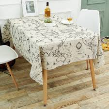 Coffee Table Cloth by World Map Print Linen Table Cloth Gray W Inch L Inch In Kitchen
