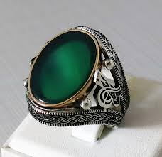 natural gemstone rings images Handmade 925 sterling silver natural green agate stone men 39 s ring jpg