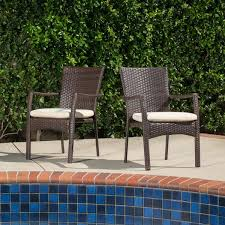 Christopher Knight Patio Furniture Reviews Corsica Outdoor Wicker Dining Chair With Cushion Set Of 2 By