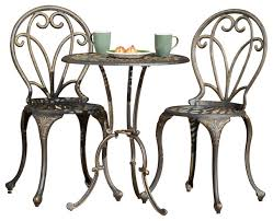 Cafe Style Table And Chairs Windsor 3 Piece Bistro Set Dark Gold Mediterranean Outdoor