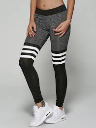 Jamaican Flag Leggings 2018 Spliced Striped Heathered Leggings Black Grey S In Pants