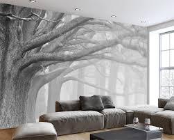 Wohnzimmer Deko Strass Beibehang Schwarz Und Weiß Wald Baum Kunst Hintergrund Wand