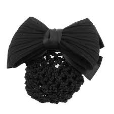 barrette hair unique bargains woman black ruched bowknot snood net bun cover