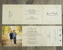 tri fold invitations tri fold all in one wedding invitation suite gold and