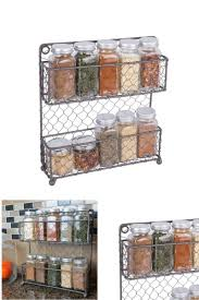 kitchen wall pantry cabinet home traditions 2 tier vintage metal chicken wire spice rack