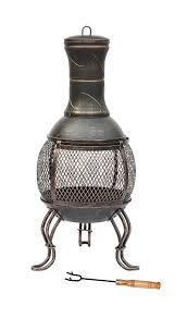 large patio heater lado large bronze 89cm large open bowl mesh cast iron chiminea