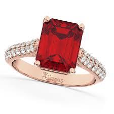 ruby diamond ring emerald cut ruby diamond engagement ring 14k gold 5 54ct