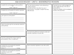 aqa gcse biology bioenergetics revision worksheet by kazza1283