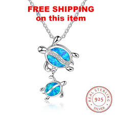 sterling silver necklace pendants images Mom baby tortoises blue opal sterling silver necklace jpg