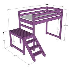 Plans For Loft Bed With Desk by Ana White Camp Loft Bed With Stair Junior Height Diy Projects