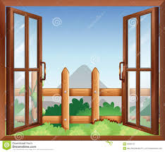 a window with a view of the backyard stock vector image 39009157
