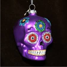purple skull personalized ornaments by