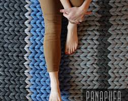 chunky knit rug crochet rug chunky oval rug bulky rug