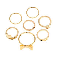 finger ring designs for 7pcs style gold color skull bowknot heart design simple sales