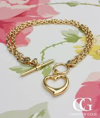 gold chain heart bracelet images 9ct yellow gold two strand heart t bar bracelet chains of gold jpg