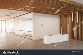 reception room corner two offices glass stock illustration