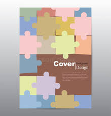 book cover with colorful jigsaw for background stock vector
