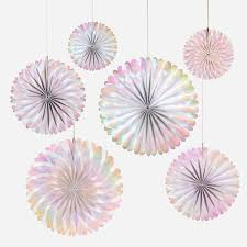 paper fan decorations decorations paper fan decorations 6 rosettes iridescent my