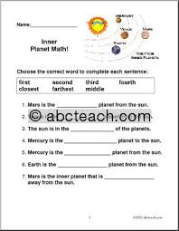 inner planets worksheet middle pics about space