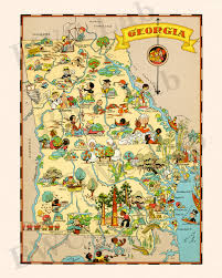 Map Of Ga Pictorial Map Of Georgia Colorful Fun Illustration Of