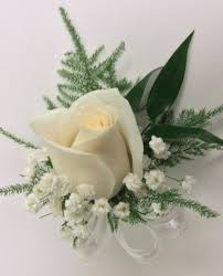 white boutonniere white boutonnière with greenery ribbon centerville florists