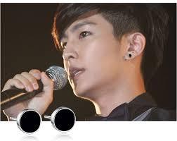black earrings for guys 8mm black men earring white gold color epoxy circle