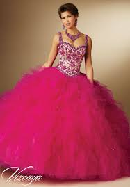 fuchsia quinceanera dresses contrasting embroidery and beading on ruffled skirt quinceanera