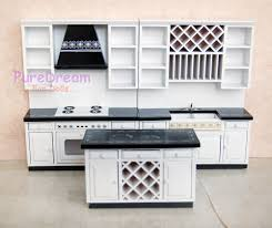 dollhouse kitchen furniture set 3pcs miniature center iland