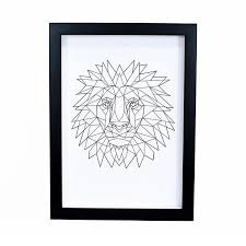 lion print geometric lion print in black frame bespoke art framing