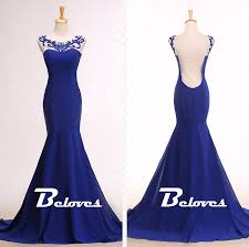 blue cap and gown royal blue cap sleeves mermaid prom gown beloves online store